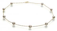 Tin Cup Bianco 7-8mm Qualità AAA - Collana di Perle Akoya Giapponese - Oro Giallo 14k