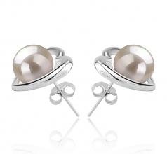 Kimberly-cuore Bianco 8-9mm Qualità AAAA - Set Orecchini di Perle Acqua Dolce - Argento Sterling 925