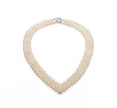 Scollo a v Bianco 3-4mm Qualità AA - Collana di Perle di Acqua Dolce