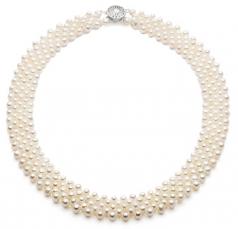 Cinque di fila Bianco 3-4mm Qualità AA - Collana di Perle di Acqua Dolce