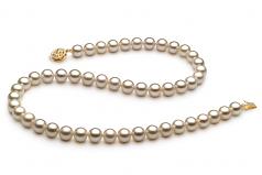 Bianco 7-8mm Qualità AAAA - Collana di Perle di Acqua Dolce - Oro Riempito