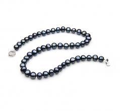 Singolo Nero 7-8mm Qualità A - Collana di Perle di Acqua Dolce - Argento Sterling 925