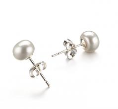 Bianco 6-7mm Qualità AA - Set Orecchini di Perle Acqua Dolce