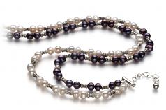 YinYang Nero e Bianco 6-7mm Qualità A - Collana di Perle di Acqua Dolce - Argento Sterling 925