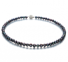 Beatitudine Nero 6-7mm Qualità A - Collana di Perle di Acqua Dolce