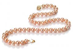 Rosa 7-8mm Qualità AAA - Collana di Perle di Acqua Dolce - Oro Riempito