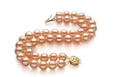 Maxima Rosa 7-8mm Qualità AA - Braccialetto di Perle di Acqua Dolce