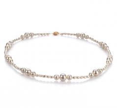 Ida Bianco 3-8mm Qualità A - Collana di Perle di Acqua Dolce - Oro Riempito