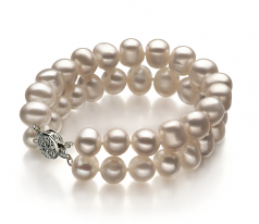 Leonora Bianco 8-9mm Qualità A - Braccialetto di Perle di Acqua Dolce