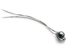 Amanda Nero 6-7mm Qualità AA - Perla Pendente Akoya Giapponese - Argento Sterling 925