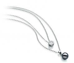 Ramona Nero 7-8mm Qualità AA - Collana di Perle Akoya Giapponese - Argento Sterling 925
