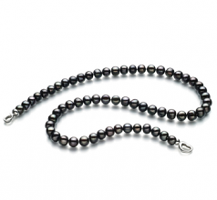 Sinead Nero 8-9mm Qualità A - Collana di Perle di Acqua Dolce - Argento Sterling 925