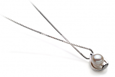 Amanda Bianco 6-7mm Qualità AA - Perla Pendente Akoya Giapponese - Argento Sterling 925