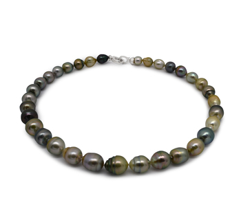 16 pollici Multicolore 8-10mm Qualità Barocca - Collana di Perle Di Tahiti - Argento Sterling 925