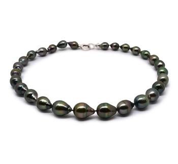 17 pollici Cremisi Nero 9-12mm Qualità Barocca - Collana di Perle Di Tahiti - Argento Sterling 925