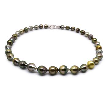 17 pollici Multicolore 8-10mm Qualità Barocca - Collana di Perle Di Tahiti - Argento Sterling 925