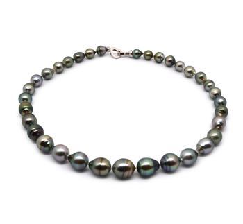17 pollici Multicolore 8-11mm Qualità Barocca - Collana di Perle Di Tahiti - Argento Sterling 925