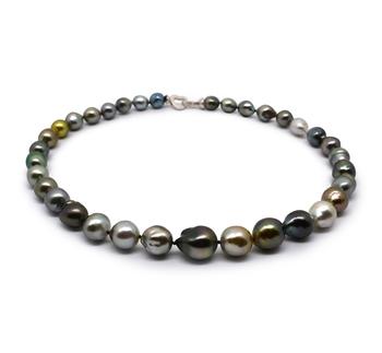 17 pollici Multicolore 9-12mm Qualità Barocca - Collana di Perle Di Tahiti - Argento Sterling 925