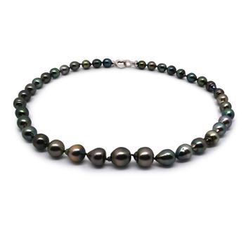 17,5 pollici Multicolore 8-11mm Qualità Barocca - Collana di Perle Di Tahiti - Argento Sterling 925