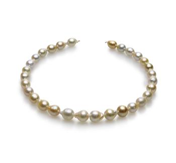 18 pollici Multicolore 10-13mm Qualità Barocca - Collana di Perle Dei Mari del Sud - Oro Giallo 14k