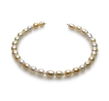 18 pollici Multicolore 10.4-13mm Qualità Barocca - Collana di Perle Dei Mari del Sud - Oro Giallo 14k