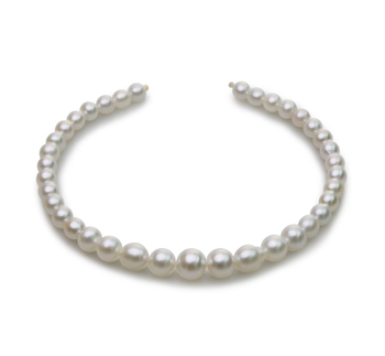 18 pollici Bianco 8.3-14mm Qualità Barocca - Collana di Perle Dei Mari del Sud - Oro Giallo 14k