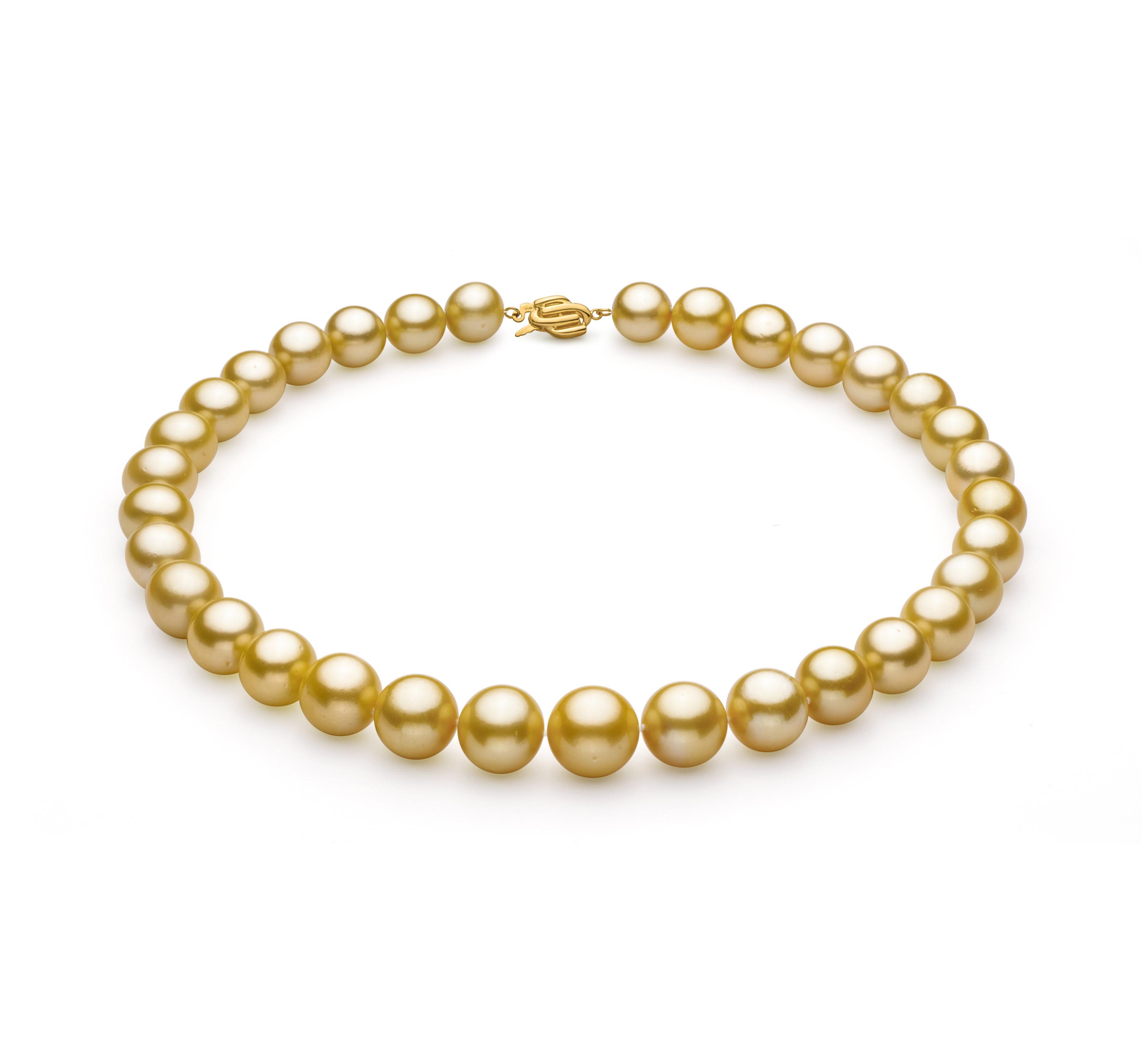 Oro 11.53-15.2mm Qualità AAA+ - Collana di Perle Dei Mari del Sud - Oro Giallo 14k