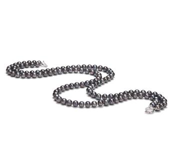 Alexandra Nero 6-7mm Qualità AA - Collana di Perle di Acqua Dolce