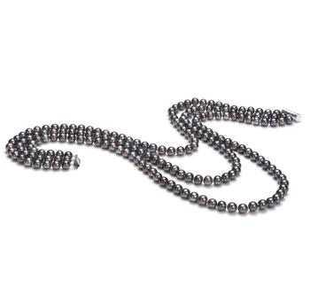 Aline Nero 6-7mm Qualità AA - Collana di Perle di Acqua Dolce