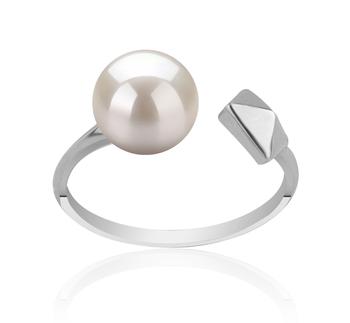 Alma Bianco 7-8mm Qualità AAAA - Anello Perla di Acqua Dolce - Argento Sterling 925