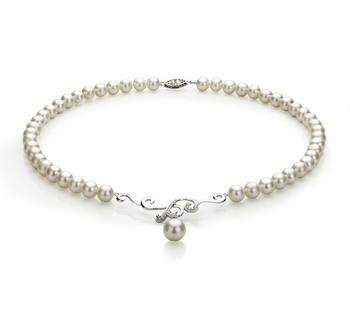 Almira Bianco 6-10mm Qualità AA - Collana di Perle di Acqua Dolce - Argento Sterling 925