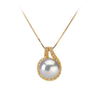 Angelica Bianco 10-11mm Qualità AAA - Perla Pendente Dei Mari del Sud - Oro Giallo 14k