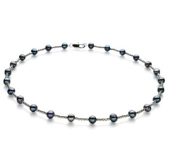 Atina Nero 6-7mm Qualità A - Collana di Perle di Acqua Dolce
