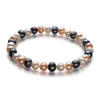 Beatitudine Multicolore 6-7mm Qualità A - Braccialetto di Perle di Acqua Dolce