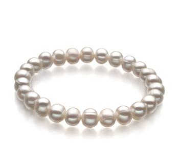 Beatitudine Bianco 6-7mm Qualità A - Braccialetto di Perle di Acqua Dolce
