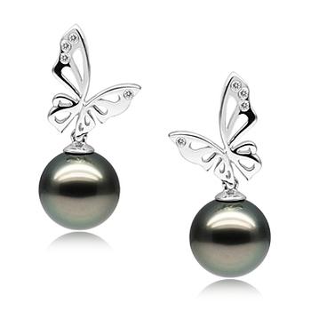 Perla Nera Farfalla Nero 10-11mm Qualità AAA - Set Orecchini Di Tahiti - Oro Bianco 14k