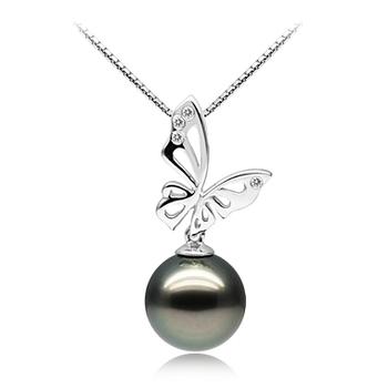 Perla Nera Farfalla Nero 11-12mm Qualità AAA - Perla Pendente Di Tahiti - Oro Bianco 14k