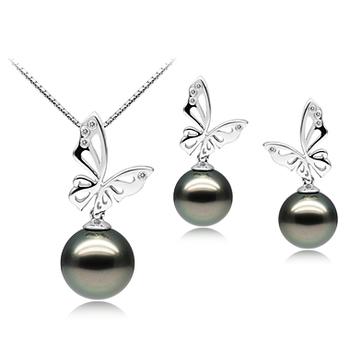 Perla Nera Farfalla Nero 10-12mm Qualità AAA - Perla Incastonata Di Tahiti - Oro Bianco 14k