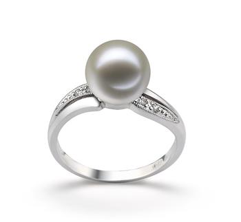 Carolina Bianco 9-10mm Qualità AAAA - Anello Perla di Acqua Dolce - Oro Bianco 14k