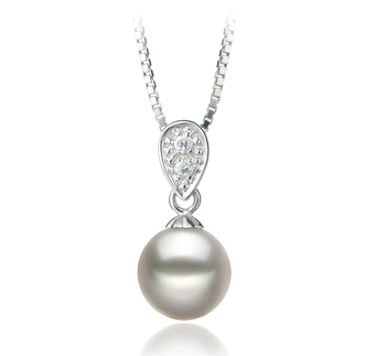 Daria Bianco 7-8mm Qualità AA - Perla Pendente Akoya Giapponese - Argento Sterling 925