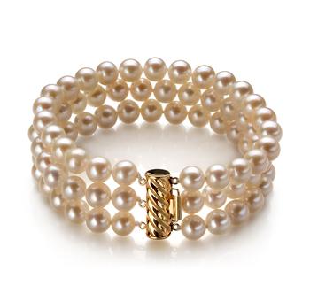 Dianna Bianco 6-7mm Qualità AA - Braccialetto di Perle di Acqua Dolce