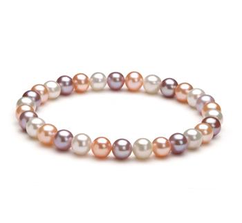 Donna Multicolore 6-7mm Qualità AA - Braccialetto di Perle di Acqua Dolce