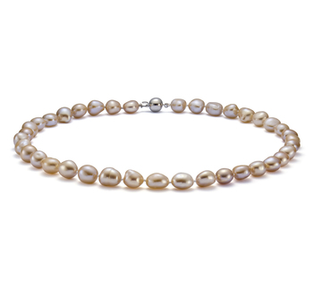 Goccia Rosa 10-11mm Qualità Barocca - Collana di Perle di Acqua Dolce - Argento Sterling 925