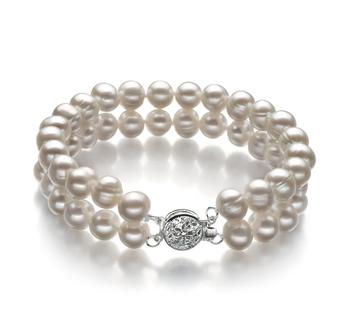 Eda Bianco 6-7mm Qualità A - Braccialetto di Perle di Acqua Dolce