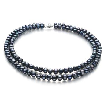 Eliana Nero 6-7mm Qualità A - Collana di Perle di Acqua Dolce