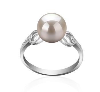 Eunice Bianco 8-9mm Qualità AAAA - Anello Perla di Acqua Dolce - Argento Sterling 925