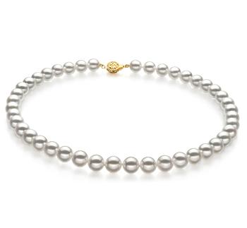 Bianco 8.5-9mm Qualità Hanadama - AAAA - Collana di Perle Akoya Giapponese - Oro Giallo 14k