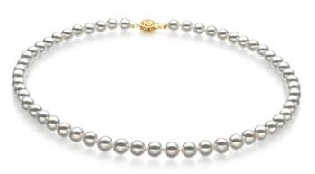 Bianco 7-7.5mm Qualità Hanadama - AAAA - Collana di Perle Akoya Giapponese - Oro Giallo 14k