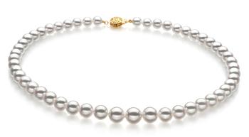 Bianco 6-9mm Qualità Hanadama - AAAA - Collana di Perle Akoya Giapponese - Oro Giallo 14k