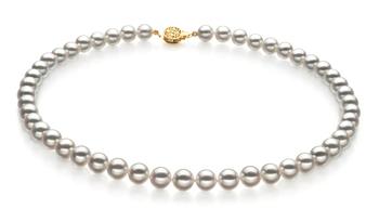 Bianco 7.5-8mm Qualità Hanadama - AAAA - Collana di Perle Akoya Giapponese - Oro Giallo 14k